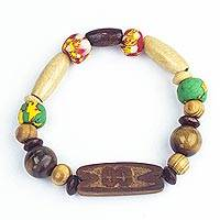 Tiger's eye beaded unity bracelet, 'Each is a Link' - Glass and Bamboo Beaded Unity Bracelet with Tiger's Eye