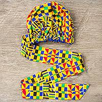African print head wrap, 'Kente Pattern' - Hand Woven Cotton Kente Cloth Head Wrap from Africa