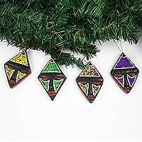 Wood and recycled glass bead holiday ornaments, 'Joyful Kites' (set of 4) - Sese Wood and Glass Bead Holiday Ornaments (Set of 4)