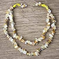 Agate and recycled glass bead necklace, 'Nuku' - Agate and Recycled Glass Bead Necklace