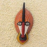 African wood mask, 'Ghanaian Monkey' - Ghanaian Hand Carved Wood Mask