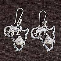 Sterling silver dangle earrings, 'Africa's Treasure' (2.2 inch) - Sterling Silver Earrings of African Continent (2.2 inch)