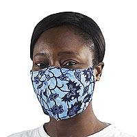 Adult and child family set cotton face masks, 'Family Fashion' (pair) - 2 African Print Cotton Tie-On Family Pack Masks in Blue