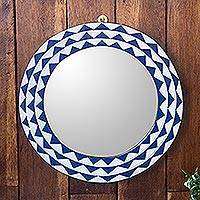 Wood wall mirror, 'Graceful Reflection in Blue' (15 inch) - Round Sese Wood Mirror Triangle Motif 15 Inch
