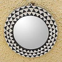 Wood wall mirror, 'Graceful Reflection in Black' (14 inch) - Round Sese Wood Mirror Triangle Motif 14 Inch
