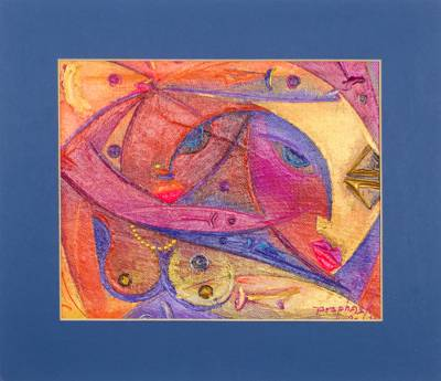 'Harmony I' - Signed Acrylic on Canvas Cubist-Style Painting