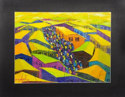 'Center for Activity' - Vibrant Original Painting of City Center