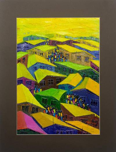 'Peaceful Coexistence' - Colorful Cityscape Painting in Acrylic on Canvas