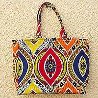 Cotton tote bag, 'Primary Flowers' - Ghanaian Primary Colored Cotton Tote Bag
