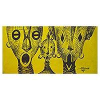 'Akan Mask Family' - Signed Acrylic on Canvas Painting of Akan Masks