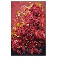 'Red Floral' - Abstract Floral Painting from Ghanaian Artist