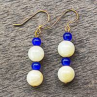 Agate bead dangle earrings, 'Small Favors' - Agate and Recycled Glass Bead Dangle Earrings