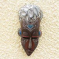 African wood mask, 'Opanyin Pa' - African Wood Mask with Aluminum Plate Detail