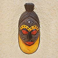 African wood mask, 'Wu Hu Ye Fe' - Aluminum Plated African Sese Wood Mask