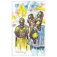 'Roots' - Original Artwork Ghanaian Music Acrylic Colored Pencil