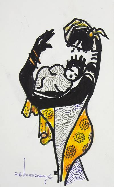 'Affection' - Original Mother and Child Painting from Ghana