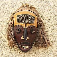 African wood mask, 'Dan People' - Artisan Crafted African Sese Wood Mask