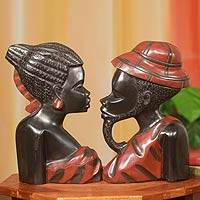Wood wall adornments African Heads pair Ghana