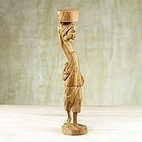 Ebony sculpture, 'Carrier Woman' - Handcrafted Cultural Wood Sculpture