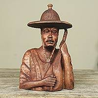 Mahogany sculpture, 'The Violinist' - Mahogany sculpture