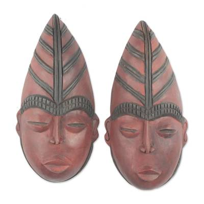 Handcrafted Ghanaian Wood Masks (Pair)