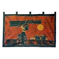 Batik wall hanging, 'Woman From the Farm' - Fair Trade Batik Cotton Wall Hanging