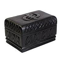 Wood jewelry box, 'Adwoa Sika Adaka' - Hand Crafted Wood Jewelry Box from Africa