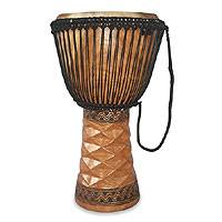 Wood djembe drum, 'Adowa' - African Djembe Drum