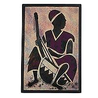 'Kora Player' - African Mixed Media Painting