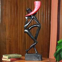 Wood sculpture, 'Horn Blower in Shadow' - Wood sculpture