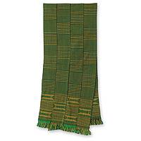 Cotton kente cloth scarf, 'Measure' - Cotton kente cloth scarf