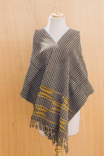 Cotton kente cloth scarf, 'Royal Checks' - Handmade Kente Cloth