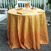 Cotton tablecloth and napkins, 'Autumn Sunset' (set for 6) - Cotton tablecloth and napkins (Set for 6)
