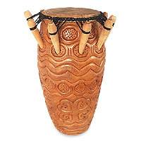 Wood kpanlogo drum,