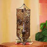 African recycled metal mask, 'I See You' - African Mask Recycled Metal Found Art Sculpture