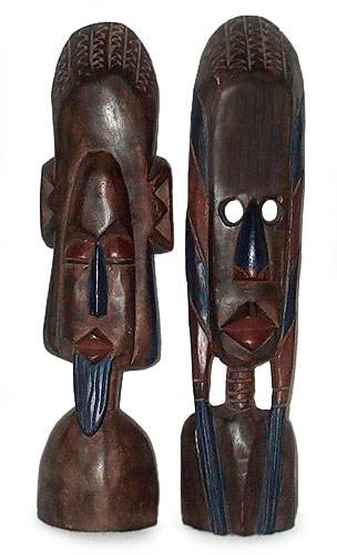 Ghanaian wood masks (Pair)