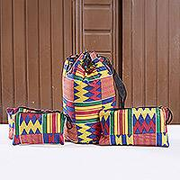 Kente tote bag and accessory cases, 'Fatia' - Kente tote bag and accessory cases