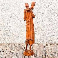 Teak sculpture, 'Royal Call' - Teak sculpture