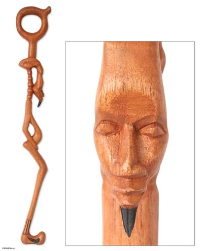 Wood walking stick, 'Senufu Man' - Handmade Wood Walking Stick