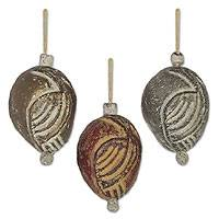 Ceramic ornaments Christmas Eggs set of 3 Ghana