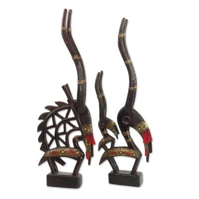 Wood sculptures, 'Good Fortune' (pair) - Hand Made Cultural Wood Sculpture (Pair)