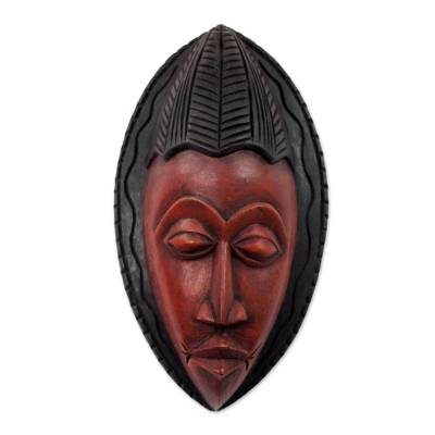 Artisan Crafted Red and Brown Wood Wall Mask from Ghana