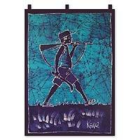 Batik wall hanging, 'Bgorbilor' - Batik wall hanging