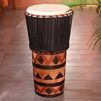 Wood ashiko drum, 'In The Wilderness' - Hand Crafted Wood Ashiko Drum