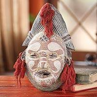Congolese wood Africa mask, 'River Goddess' - Hand Made Congolese Wood Mask
