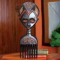 Wood comb, 'Pretty Girl' - Hand Carved Fertility Doll Wood Comb