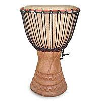 Wood djembe drum, 'Play' - Wood djembe drum