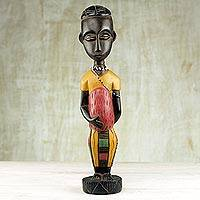 Wood sculpture, 'New Mother' - Wood sculpture