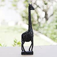 Ebony statuette, 'African Giraffe' - Hand Carved Ebony Wood Sculpture