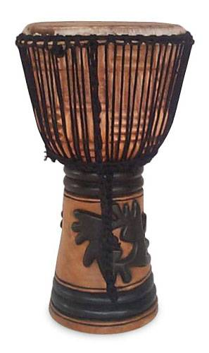 Wood djembe drum